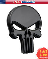 3D Metal Punisher Emblem Sticker Skeleton Skull Decal Badge Car Bike Truck BLACK