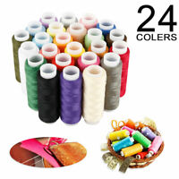 24 Spools Mixed Colors 100% Polyester Sewing Quilting Hand Stitching Threads Set
