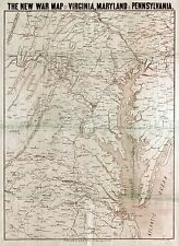 MAP ANTIQUE USA CIVIL WAR VIRGINIA MARYLAND LARGE REPLICA POSTER PRINT PAM1260