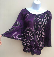 Ladies Editions Long Sleeve Silky Purple Floral Blouse Tunic Top Size 16