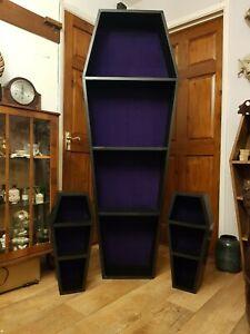 Gothic Macabre 6ft Coffin Shelf custom lined horror vampire Dracula Halloween