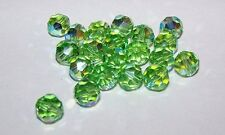 12 - Swarovski 8mm Crystal Peridot AB   Faceted Round Beads #5000