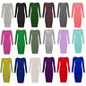 Womens Ladies Long Sleeve Stretch Bodycon Plain Jersey Midi Maxi Dress Plus Size