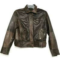 ZARA Brown Genuine Leather Moto Jacket Womens L Large Biker Lined Buttery Soft