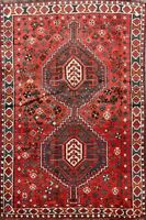 Antique Tribal Geometric Abadeh Area Rug Hand-Knotted Oriental Wool Carpet 4'x5'