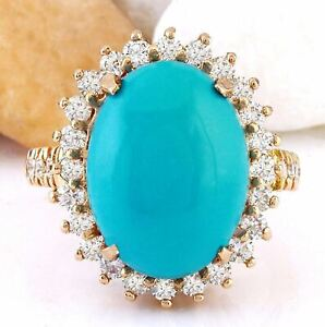 9.86 Carat Natural Blue Turquoise and Diamond 14K Rose Gold Cocktail Ring