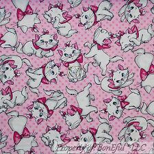 BonEful FABRIC Cotton Quilt Pink White Aristocat Disney Cat Paris Girl Dot SCRAP