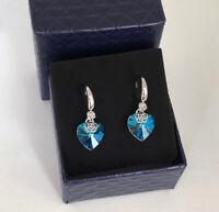 Ohrringe mit Swarovski® Kristall Blau 750er Weißgold 18K vergoldet Geschenkbox