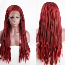 Synthetic Curly Wave Red Lace Front Wig Heat Resistant Braided Hair for Women