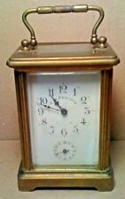 ANTIQUE FRANCE BRASS CARRIAGE CLOCK w/KEY C.D. PEACOCK CHICAGO Estate Find