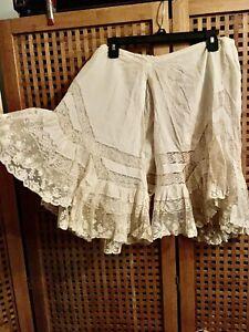 Antique Split Bloomers Edwardian Victorian French Lace Pantaloons Cotton Sz M