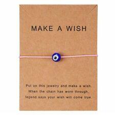 Blue Evil Eyes Paper Card Pink Bracelet Handmade Bangle Charm Women Jewelry Gift