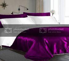 New 5 PC Small Double Purple & White Satin Reversible Duvet Cover Set D-4