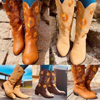 Women Mid Calf Western Boots Embroidery Sun Flower Low Block Heel Booties Shoes