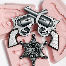 Crossed Pistol  - Sherrif Badge Silicone Mold Set  Food Safe Craft Moulds  (244)