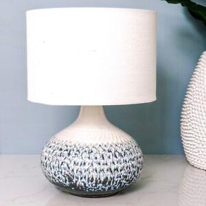 Portsea Ceramic Table Lamp w Linen Blend Barrel Shade Hamptons Coastal Decor