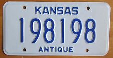 Kansas 2006 ANTIQUE VEHICLE GOOD REPEAT NUMBER License Plate # 198198