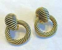 Vintage Retro Clip On Earrings Textured Gold Chunky Doorknocker Fashion Hoops