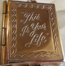 VINTAGE Rare Gold plate This is Your Life Book locket 2 old pictures baby couple