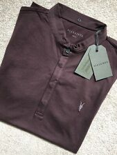 """ALL SAINTS MEN'S OXBLOOD RED """"GRAIL"""" S/S LOGO POLO SHIRT TOP - SMALL - NEW TAGS"""
