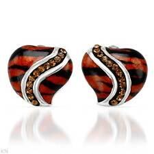 tone Enamel & 925 Sterling silver Lovely Heart Earrings W/Genuine Crystal in Two