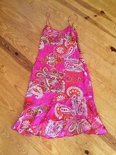SONIA TRUSSARDI SEPE STS 100% SILK RED & PINK PAISLEY DRESS SIZE PETITE NWT