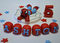 EDIBLE SPIDERMAN  TOPPER CAKE NAME AGE STARS DECORATION SUPER HERO COMIC MARVEL