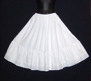 100% Vintage style White Cotton Petticoat select the waist and length required