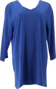 Isaac Mizrahi 3/4 Slv Knit Top Tall Side Slits Blue Azure XL NEW A384098