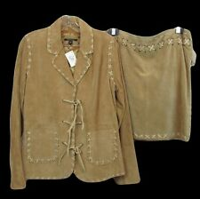 For Joseph Suede Leather Outfit Womens Western Skirt Jacket Cowgirl Large Brown