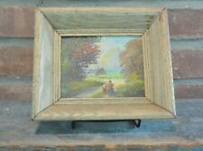 Framed Miniature Landscape Oil Painting, Autumn Cottage Scene, signed: Carl Roth