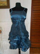 ROBE de soirée mariage polyester bleu volants noeud L/XL 40/42 MIMI SHOW