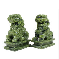 A Pair Natural China Green Jade Carved Fengshui Foo Fu Dog Guard Door Lion Decor