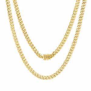 """10K Yellow Gold Mens 5mm Genuine Miami Cuban Link Chain Pendant Necklace 16""""-30"""""""