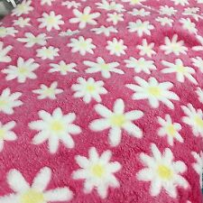 Pink & White Floral Daisy Print Soft Polar Fleece Fabric 155cm x 50cm Wide