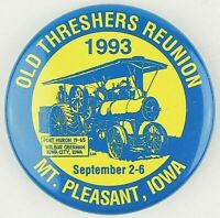Vintage 1993 Mt Pleasant IA Old Threshers Reunion Pinback Button Free Shipping