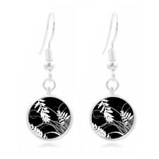 Black and Whit Art Tibet Silver Dome Photo 16MM Glass Cabochon Long Earrings #42