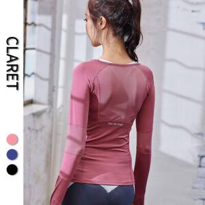 Running T Shirt Women Long Sleeve Tops Quick Dry Fitness Sports Yoga Tee SP140