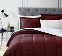Chezmoi Collection 3-Piece Burgundy Micro-mink Sherpa Down Alternative Comforter
