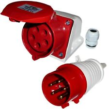 16 Amp 5 Pin Plug and Socket 3 Phase 400V Weatherproof IP44 Red 16A Industrial