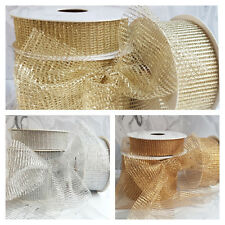 25,40,70mm Wide Metallic Mesh Ribbon Gold, Silver. Christmas Wreath Sparkly Xmas