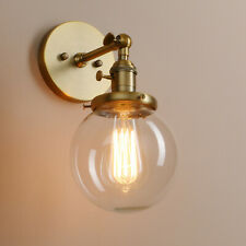 "5.9"" Globe Wall Lamp Sconce Antique Vintage Industrial Light Clear Glass Shade"