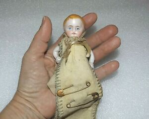 """ANTIQUE ALL BISQUE Mignonette Sewing Pin Holder JOINTED GERMAN 4 1/4"""" BABY DOLL"""