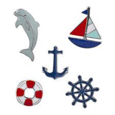 Lux Accessories Silvertone Nautical Shipwreck Sailor Anchor Brooch Pin Set 5PCS