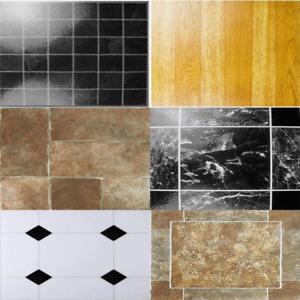 Self Adhesive Vinyl Floor Tiles Easy Fit Flooring DIY Kitchen Bathroom Sticky UK