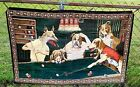 """Vintage Tapestry Wall Hanging """"Dogs Playing Pool"""" 1970's MAKE OFFER!"""