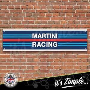 Martini Racing Stripes Banner Garage Workshop Sign Printed PVC Trackside Display