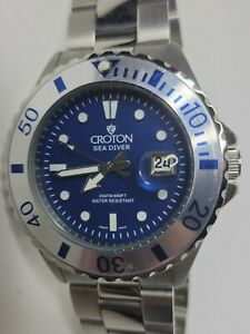 Croton Sea Diver Men's Watch Blue Stainless Steel 42mm