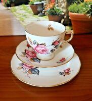 Royal Vale Pale Deep Pink Roses Tea Set Trio