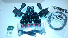 All black 2 Player USB, mame, happ arcade parts kit, 2 4/8 joysticks, 16 button